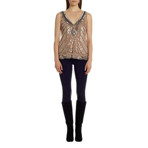 Buy Jigsaw Infinity Bead Top, Antique Pink Online at johnlewis.com