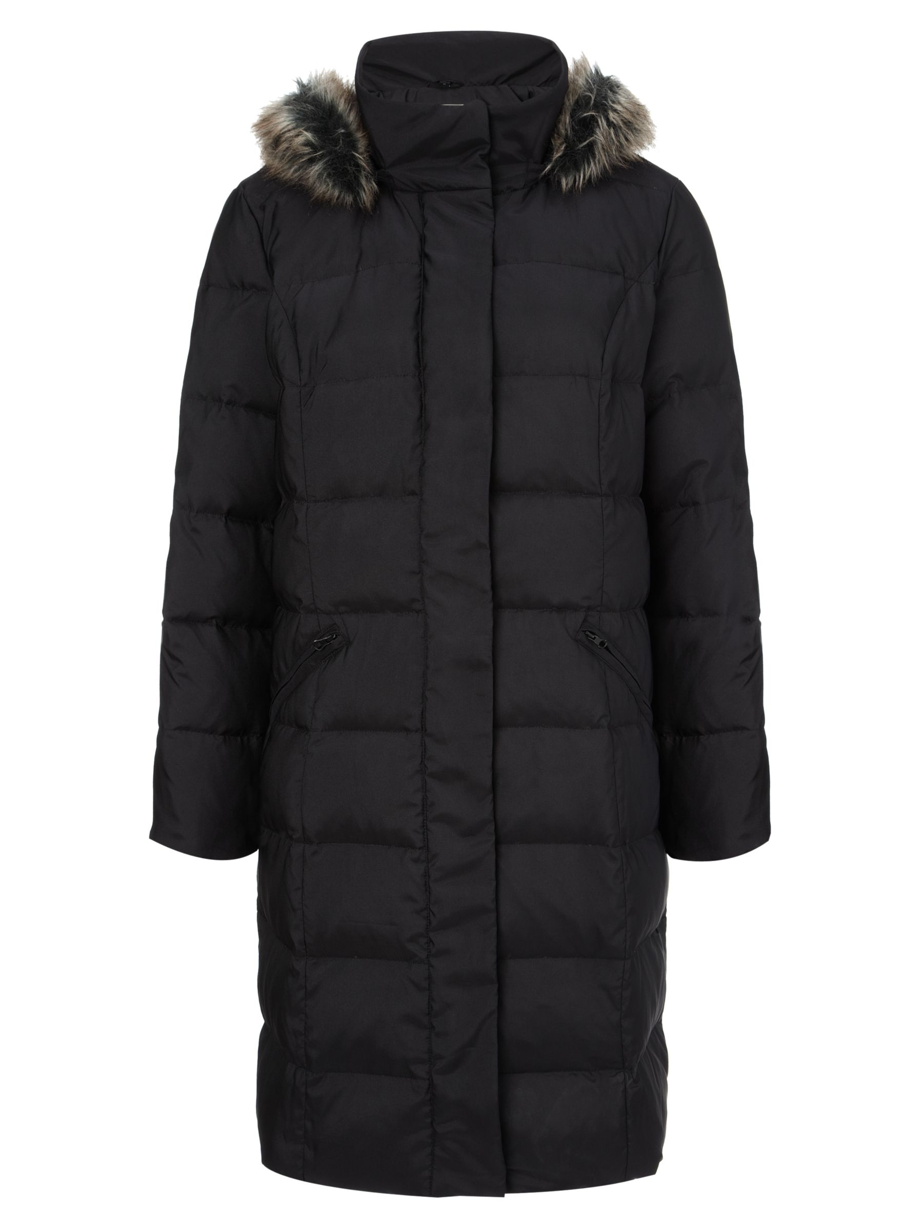 Four Seasons Long Quilted Coat, Black