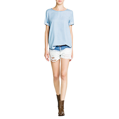 Buy Mango Zip T-Shirt, Light Pastel Blue Online at johnlewis.com