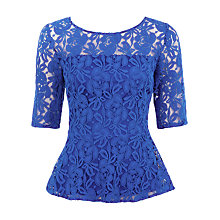 Buy Kaliko Lace Peplum Top, Blue Online at johnlewis.com