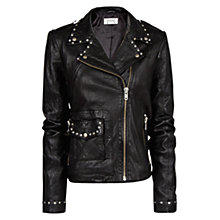 Buy Mango Studded Leather Biker Jacket, Black Online at johnlewis.com