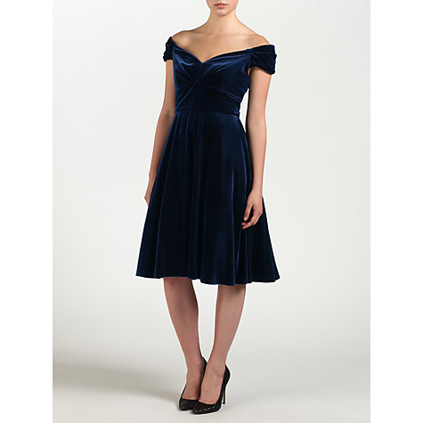 Buy Ariella Amelie Velvet Dress, Navy Online at johnlewis.com