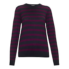 Buy Whistles Silk Stripe Sweater, Black and Purple Online at johnlewis.com