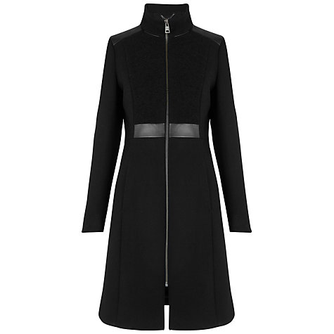 Buy Whistles Freda Textured Funnel Coat, Black Online at johnlewis.com