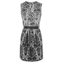 Buy Warehouse Baroque Print Dress, Light Grey Online at johnlewis.com