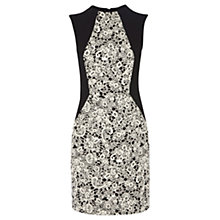 Buy Warehouse Jacquard Lace Dress, Black / White Online at johnlewis.com