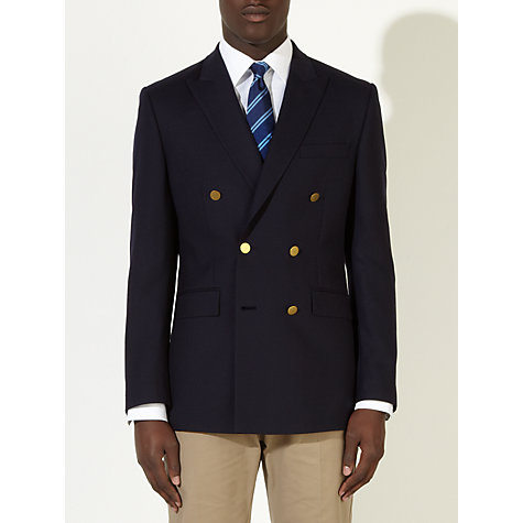 Buy John Lewis Hopsack Merino Wool Double Breasted Blazer, Navy Online at johnlewis.com
