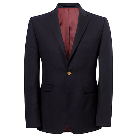 Buy John Lewis Hopsack Merino Wool Single Breasted Blazer, Navy Online at johnlewis.com