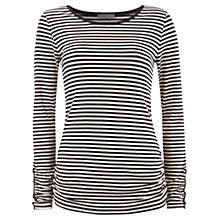Buy Mint Velvet Stripe Long Sleeve T-Shirt, Black / Oatmeal Online at johnlewis.com