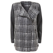 Buy Mint Velvet Check Leather Mixed Coat, Multi Online at johnlewis.com