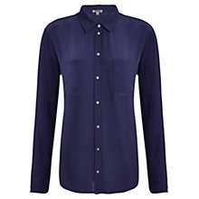 Buy Jigsaw Silk Front Shirt, Indigo Online at johnlewis.com