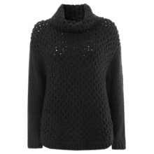 Buy Mint Velvet Wavy Stitch Ovoid Jumper, Black Online at johnlewis.com