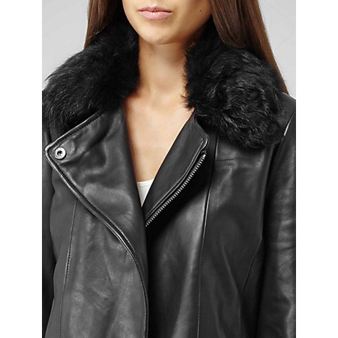 Buy Reiss Harpery Sheepskin Collar Leather Jacket, Black Online at johnlewis.com