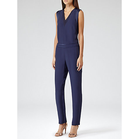 Buy Reiss Roana Satin Trim Jumpsuit, Navy Online at johnlewis.com