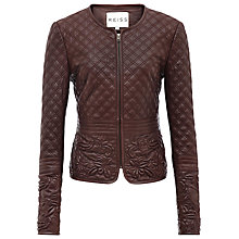 Buy Reiss Onyx Quilted Leather Jacket, Red Online at johnlewis.com
