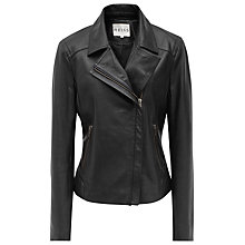 Buy Reiss Leather Stitched Panel Jacket, Black Online at johnlewis.com