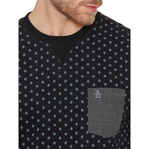Buy Original Penguin Micro-Print Cotton Sweatshirt, True Black Online at johnlewis.com