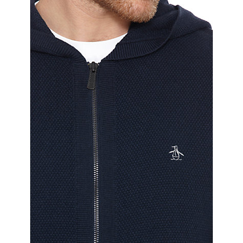 Buy Original Penguin Zip-Up Hooded Cardigan, Dark Sapphire Navy Online at johnlewis.com