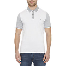 Buy Original Penguin Fine Stripe Polo Top, Bright White Online at johnlewis.com