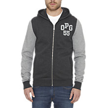 Buy Original Penguin Zip-Up Hooded Logo Sweatshirt, Dark Charcoal Heather Online at johnlewis.com