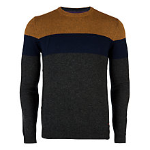 Buy Ted Baker Vitbee Crew Neck Jumper, Mustard/Grey Online at johnlewis.com