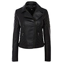 Buy Oasis Quilted Leather Jacket, Black Online at johnlewis.com
