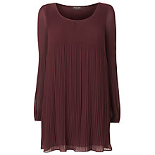 Buy Phase Eight Ella Pleated Tunic Top, Bordeaux Online at johnlewis.com