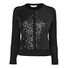 Buy L.K. Bennett Elba Sequin Front Cardigan, Black Online at johnlewis.com