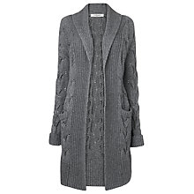 Buy L.K. Bennett Emil Cable Knit Shawl Cardigan, Flannel Online at johnlewis.com
