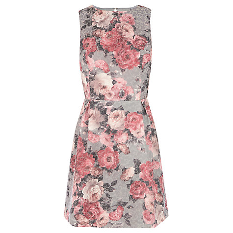 Buy Warehouse Rose Print Dress, Bright Pink Online at johnlewis.com