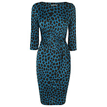 Buy L.K. Bennett Celosia Twist Front Print Dress, Peacock Blue Online at johnlewis.com