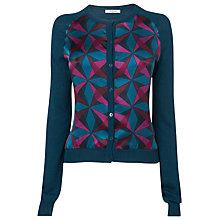 Buy L.K. Bennett Veraina Silk Front Print Cardigan, Navy Online at johnlewis.com