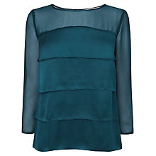 Buy L.K. Bennett Silk Layered Front Top, Peacock Blue Online at johnlewis.com