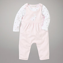 Buy John Lewis Baby Dungaree Set, Pink Online at johnlewis.com