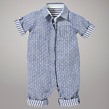 Buy Kin by John Lewis Chambray Romper, Navy Online at johnlewis.com