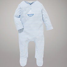 Buy John Lewis Baby Layette Stripe Boat Sleepsuit, Blue Online at johnlewis.com