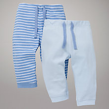 Buy John Lewis Baby Layette Stripe & Plain Bottoms, Pack of 2, Blue Online at johnlewis.com