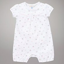 Buy John Lewis Baby Short Sleeve Romper, White/Pink Online at johnlewis.com