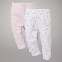 Buy John Lewis Baby Cotton Leggings, Pack of 2, Pink/White Online at johnlewis.com