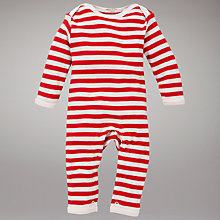 Buy Organics For Kids Broad Stripe Romper, Red/White Online at johnlewis.com