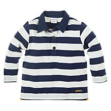 Buy Polarn O. Pyret Block Stripe Long Sleeve Polo Shirt, Indigo Online at johnlewis.com