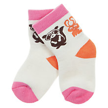 Buy Polarn O. Pyret Animal Print Socks, White/Macaroon Online at johnlewis.com
