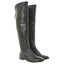 Buy Mint Velvet Leather Zip Detail Knee Boots, Black Online at johnlewis.com