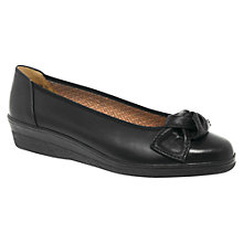 Buy Gabor Lesley Wedged Leather Pump Shoes, Black Patent Online at johnlewis.com