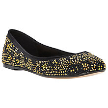 Buy Dune Meerie Satin Ballerina Pump Shoes, Black/Gold Online at johnlewis.com