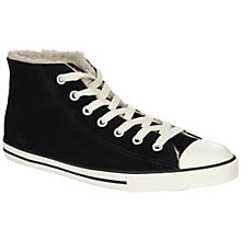Buy Converse Chuck Taylor All Stars Dainty Mid-Top Fur Lined Suede Trainers, Black Online at johnlewis.com