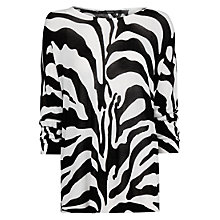 Buy Mango Zebra Print Flowing Sweater, Black Online at johnlewis.com