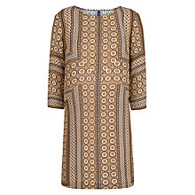 Buy Mango Scarf Print Flowy Dress, Gold Online at johnlewis.com