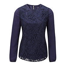 Buy Viyella Ella Silk Blouse, Blue Online at johnlewis.com