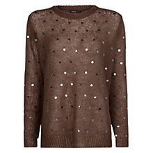 Buy Mango Sequined Sweater, Medium Beige Online at johnlewis.com